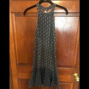 Free People denim polka dot mini dress